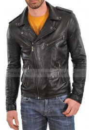 Men's Asymmetrical Black Leather Biker Jacket