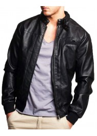 Men's Bomber Casual Snap Tab Collar Black Leather Jacket
