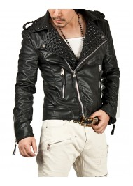Men's Black Studded Leather Jacket