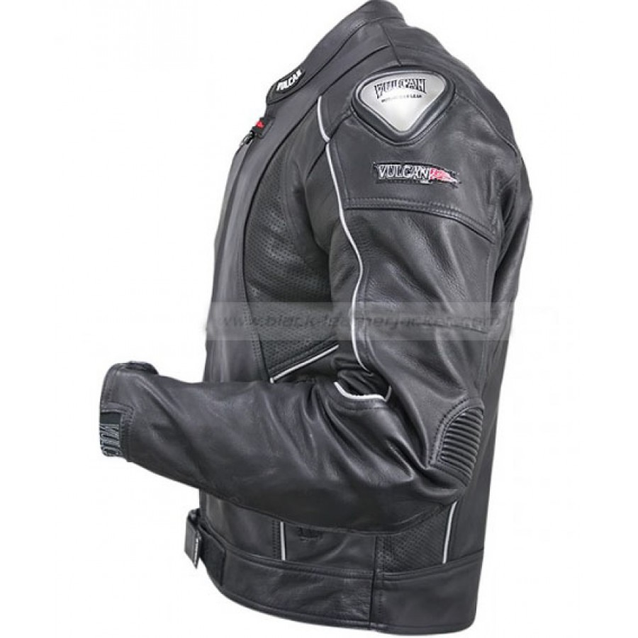 fd333e994 Mens Black Vulcan Armored Leather Motorcycle Jacket