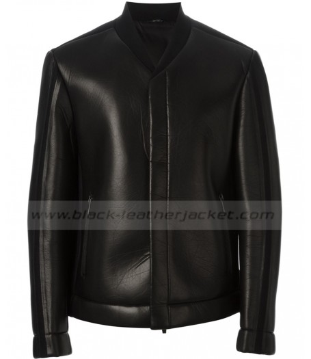Mens Wool and Black Leather Bomber Jacket