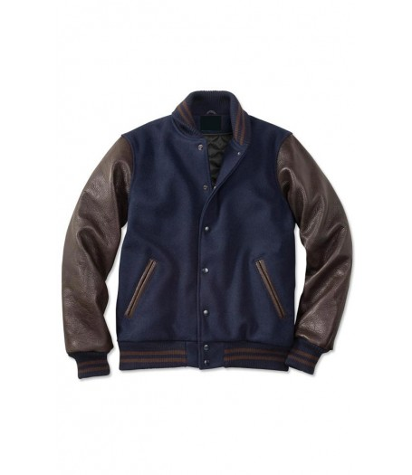 Men's Blue and Brown Varsity Jacket