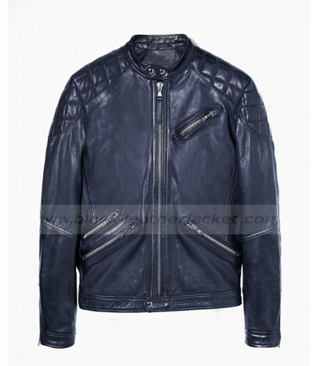 Mens Blue Leather Quilted Biker Jacket