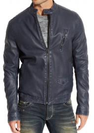 Men's Blue Leather Biker Jacket