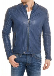 Men's Blue Leather Quilted Jacket