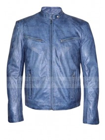 Mens Biker Style Blue Washed Real Leather Jacket
