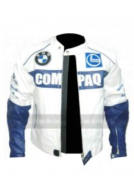 Mens BMW Compaq White Leather Motorcycle Jacket