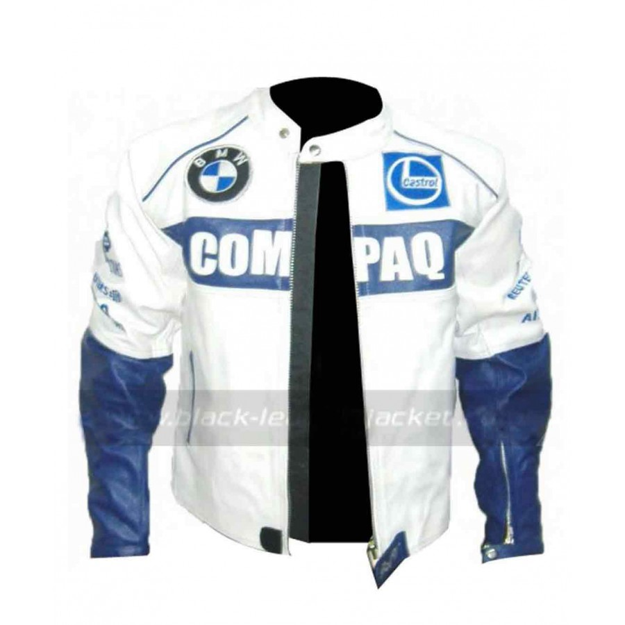 Bmw Motorcycle Jacket >> Mens Bmw Compaq White Leather Motorcycle Jacket