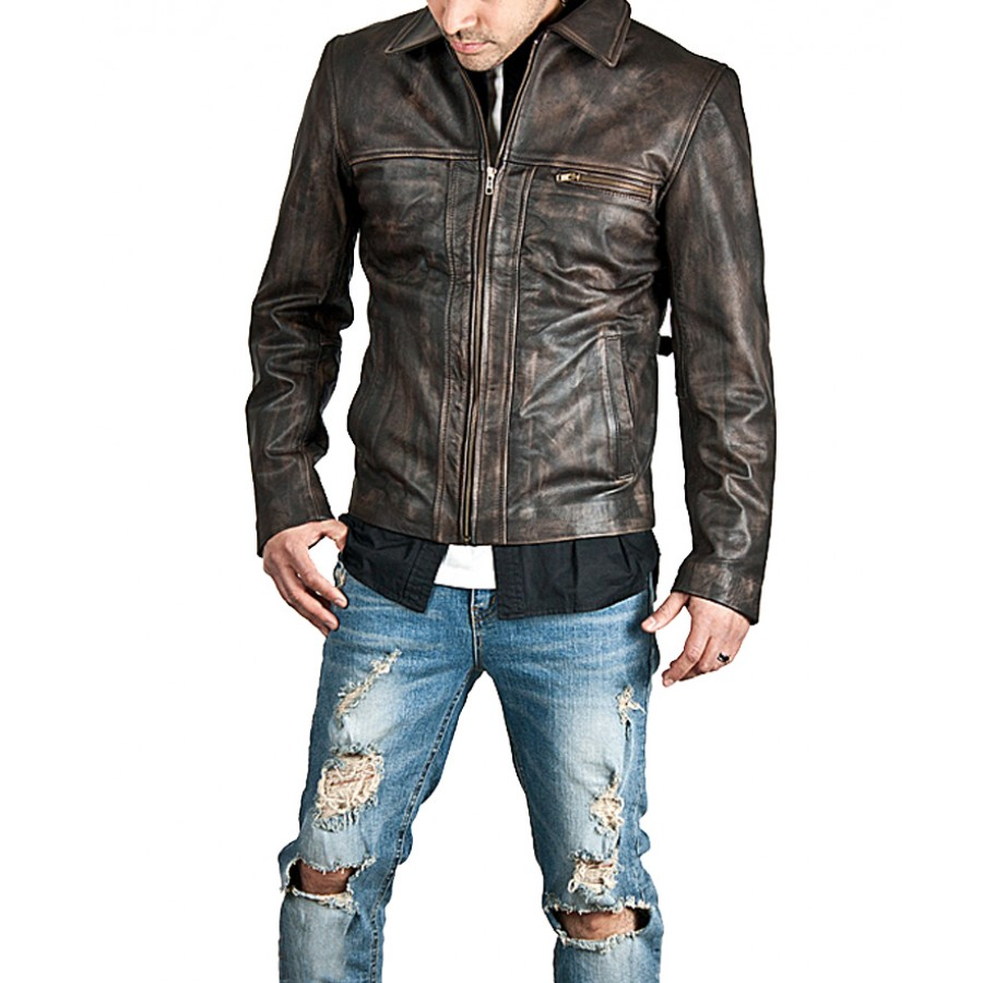 bf69424404 Men's Zip-Up Brown Distressed Leather Jacket