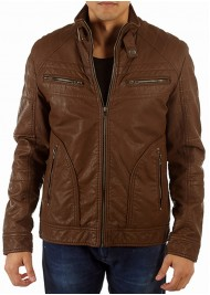 Men's Brown Faux Leather Moto Jacket with Snap Tab Collar