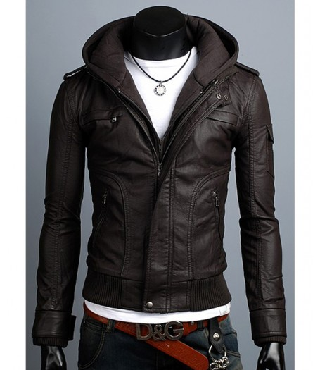 Men's Slim Fit Brown Faux Leather Jacket With Hoodie