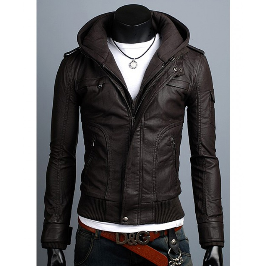 cecb12a89b5 Slim Fit Hooded Jacket | Brown Faux Leather Jacket With Hoodie