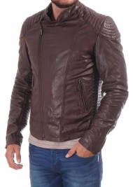 Men's Brown Leather Asymmetrical Moto Jacket