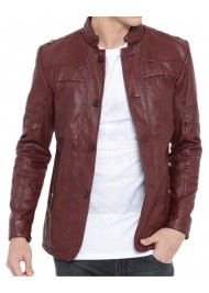 Men's Burgundy Color Casual Faux Leather Jacket