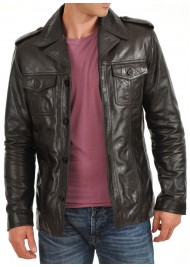 Men's Button Closure Shirt Style Leather Jacket
