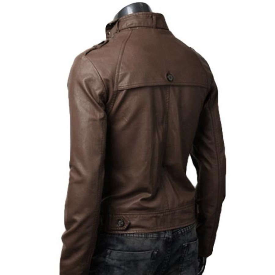 Mens Button Pocket Jacket | Slim Fit Light Brown Leather Jacket