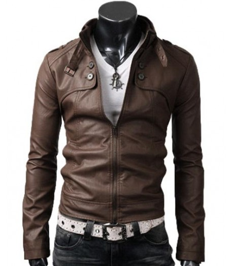 Mens Button Pocket Slim Fit Light Brown Leather Jacket