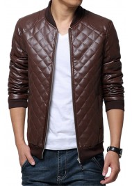 Men's Casual Faux Leather Brown Quilted Jacket