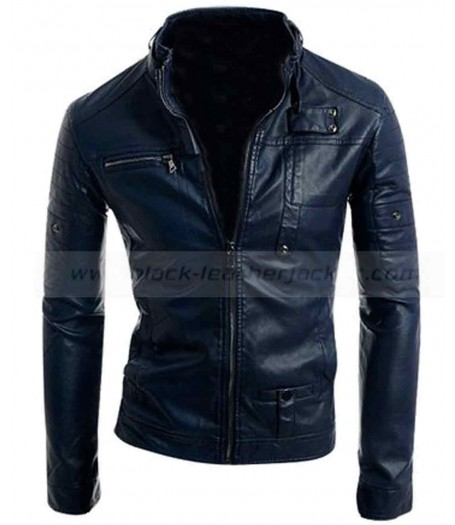 Mens Casual Stand Up Collar Slim Fit Leather Jacket