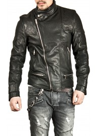 Men's Casual Wear Asymmetrical Black Leather Biker Jacket
