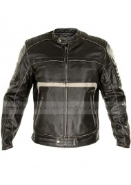 Mens Charcoal Motorcycle Dark Brown Leather Jacket