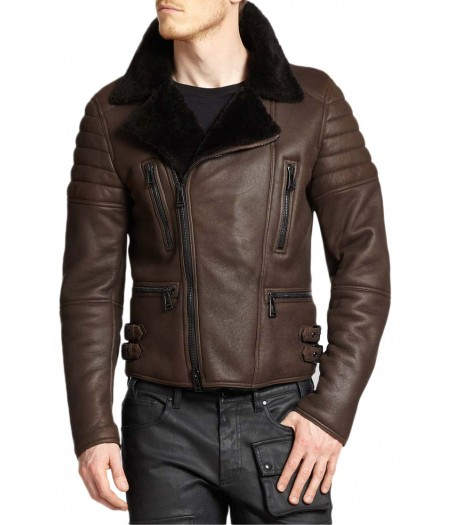 Men's Moto Classic Brown Shearling Leather Jacket