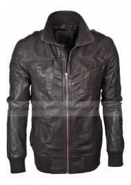 Men's Dark Brown Bomber Military Style Barneys Leather Jacket