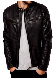 Men's Dark Brown Snap Tab Collar Leather Jacket