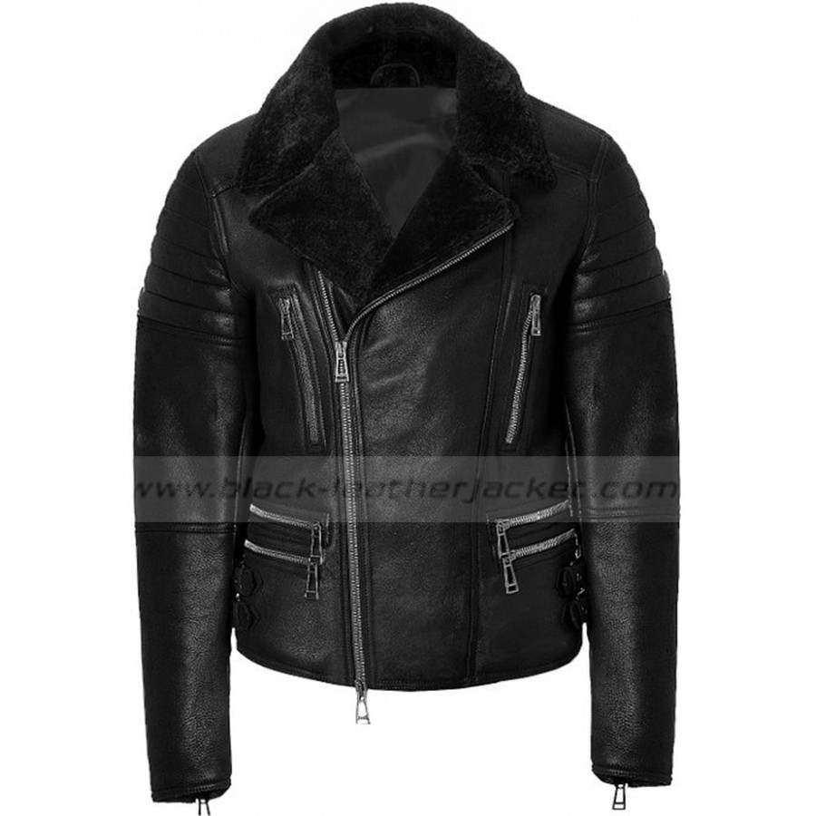 Black Leather Jacket With Fur Collar | Mens Designer Biker Jacket