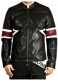Men's Designer New Style Striped Faux Leather Jacket