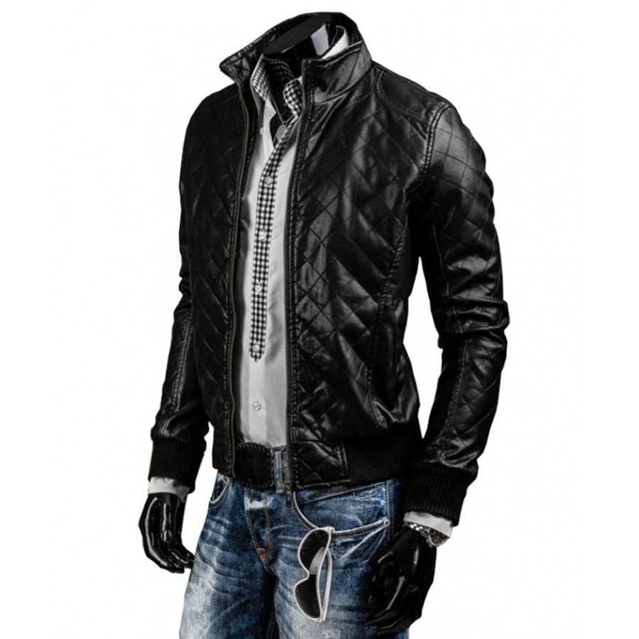 Slim Fit Quilted Jacket | Mens Designer Black Leather Biker Jacket