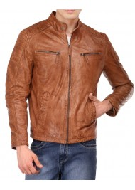 Men's Tan Brown Distressed Leather Quilted Jacket