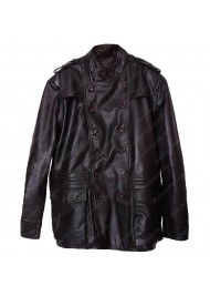 Double Breasted Dark Brown Leather Jacket Mens