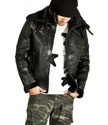Men's Double Face Belted Soft Fur Lining Jacket
