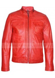 Mens Fashion Biker Style Red Leather Jacket