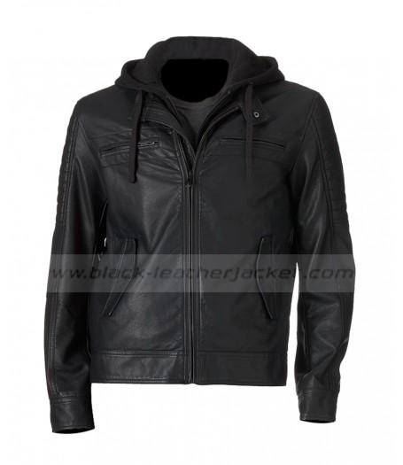 Men's Hooded Black Faux Leather Moto Jacket