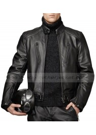 Men's Motorcycle Riding Lambskin Black Leather Jacket