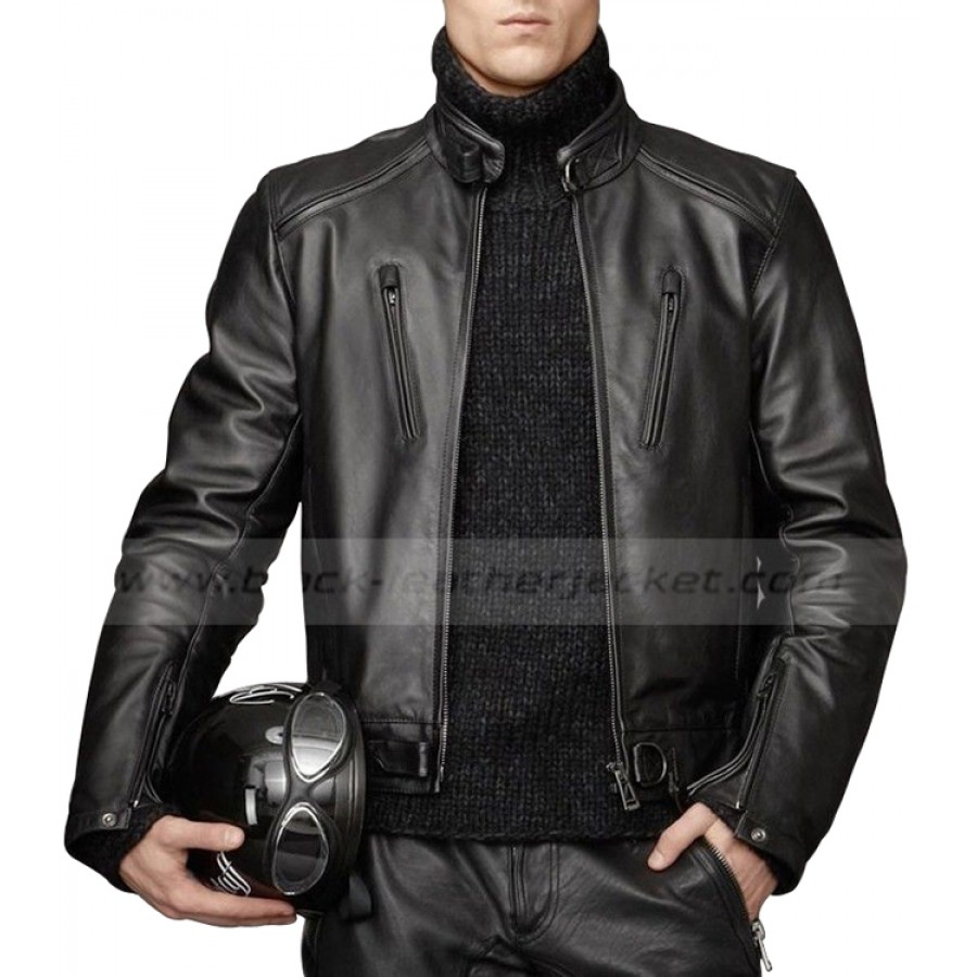 Leather jacket for motorcycle riding - Men S Motorcycle Riding Lambskin Black Leather Jacket