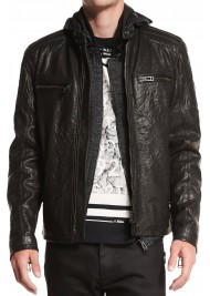 Men's Black Sheepskin Leather Jacket with Hoodie