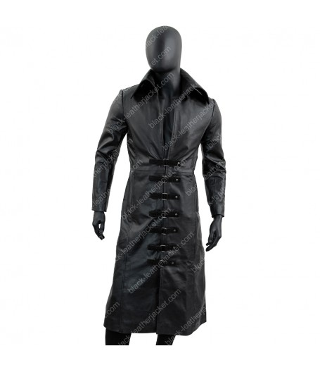 Mens Long Black Leather long Coat