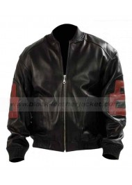Mens Maroon 8 Ball Leather Bomber Jacket