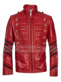 Mens Military Red Leather Biker Jacket