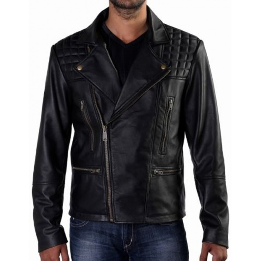 Quilted Shoulder Black Leather Motorcycle Jacket : mens quilted leather biker jacket - Adamdwight.com