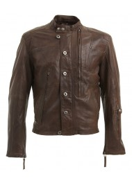 Mens Multi Pocket Dark Brown Leather Motorcycle Jacket