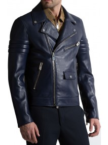 Men's Navy Blue Leather Motorcycle Jacket