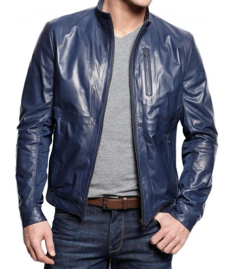 Men's Navy Blue Casual Leather Jacket