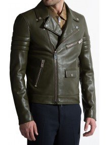 Men's Olive Green Leather Biker Jacket