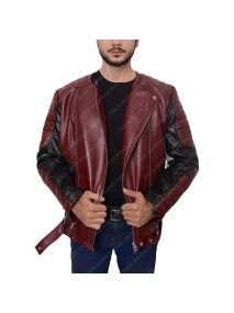 Mens Biker Padded Shoulder Red Leather Jacket