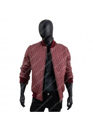 Men's Red Quilted Faux Leather Bomber Jacket