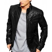 Men's Quilted Shoulder Black Leather Jacket